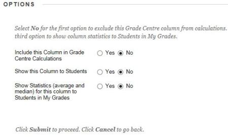 grade centre options