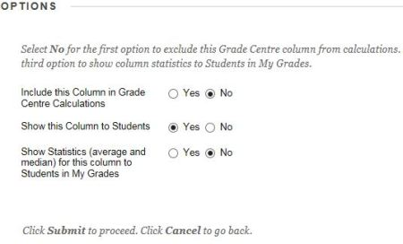Grade centre column option to make visible to students