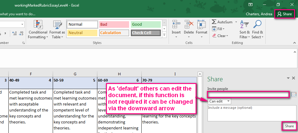 Create A Library Of Rubrics For All To Use The Added Benefit Using Excel Is That You Can Now Share Document And Work Collaboratively With Others