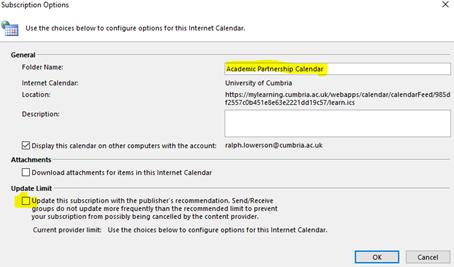 Sync a Blackboard Calendar to your Microsoft Outlook